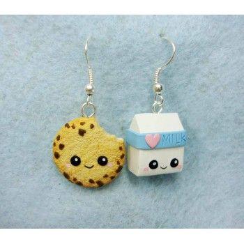 Cookie + Milk,fimo, handmade,hecho a mano,polymer clay,earrings,pendientes,galleta,leche,kawaii,