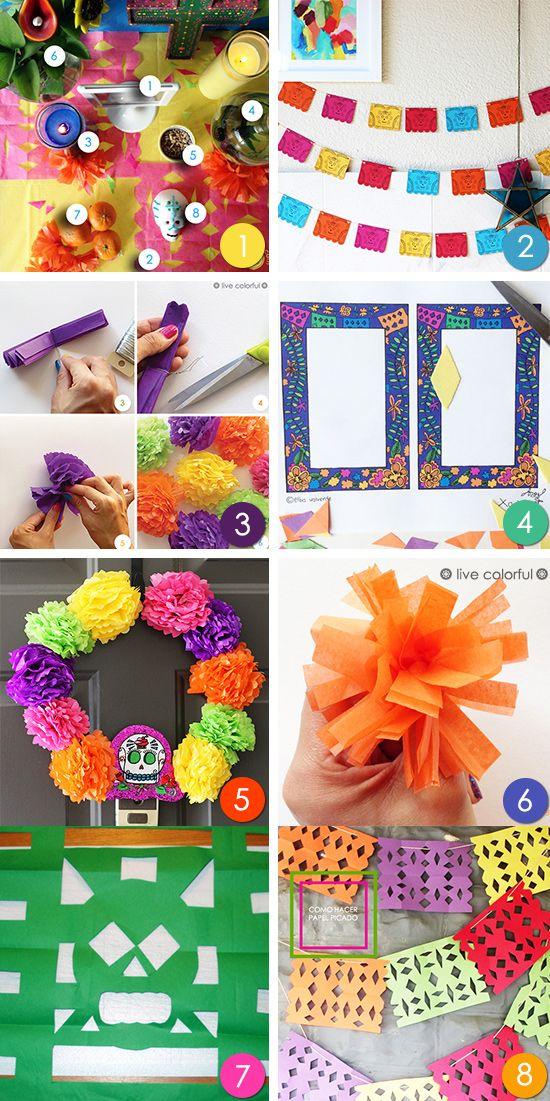 8 manualidades y proyectos creativos para decorar tu hogar y altar el Día de los Muertos y además la lista de materiales y lo que representan en esta celebración.   LiveColorful.com