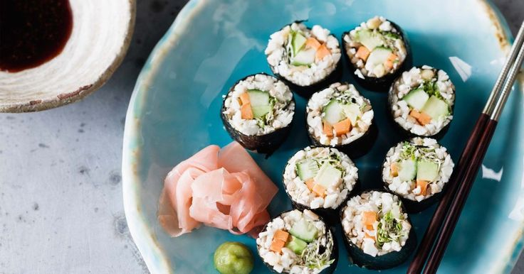 Food process raw cauliflower and pine nuts to create a rice-like filling for these gluten-free, raw sushi rolls.