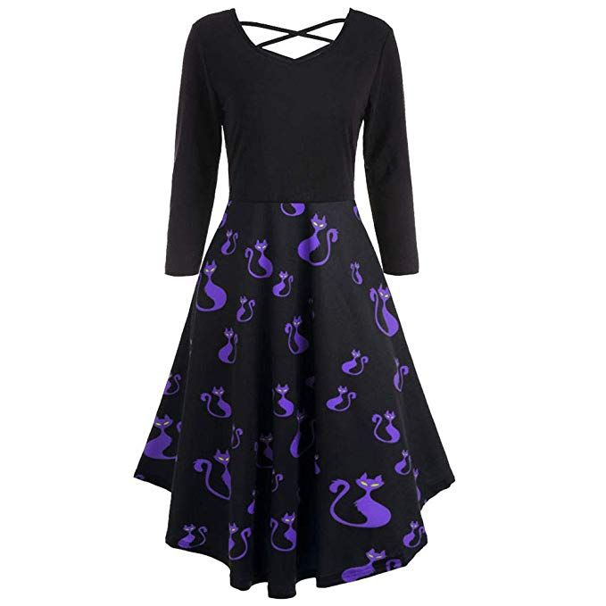 be37ff4e70c DEATU Ladies Dress Women Halloween Casual Elegance Long Sleeve Hollow Bat  Print Flare Dress Party Casual Dresses    Check this awesome product by  going to ...