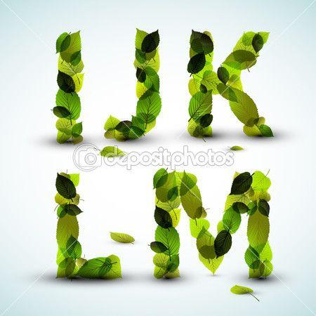 вектор буквы алфавита сделанные из листьев — Векторная картинка #9197230