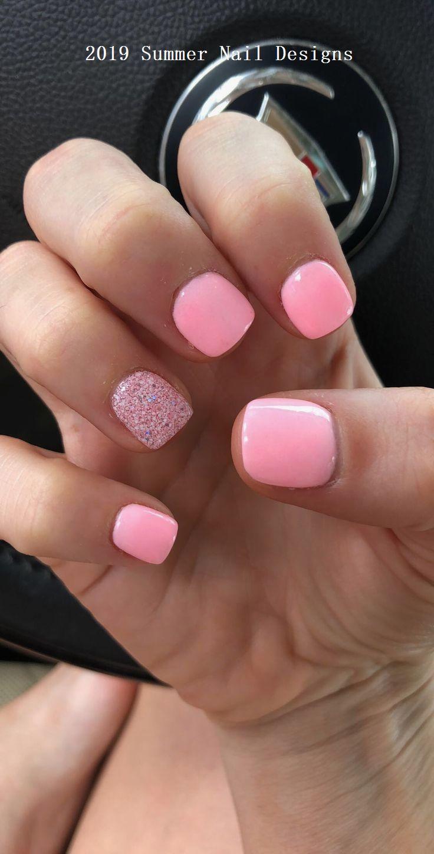 33 Cute Summer Nail Design Ideas 2019 Naildesigns Pink Nail Colors Short Acrylic Nails Dipped Nails