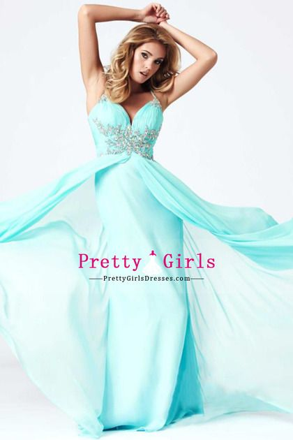 2014 a-line/princess long Prom Dresses Spaghetti Straps chiffon pleated bodice
