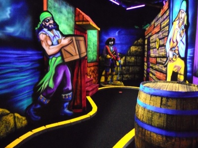 Glow in the dark, pirate themed, 3D mini-golf. Fun Factor in Kamloops.  Yes, it's as ridiculous as it sounds, but ridiculously fun!