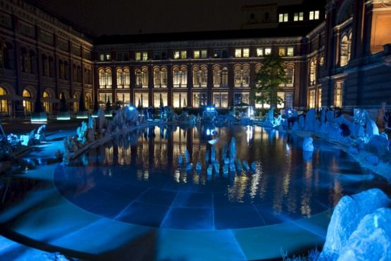 The serene, elliptical pool in the John Madejski Garden – the huge interior courtyard at the V&A – has been transformed by Chinese artist Xu Bing to become an ethereal fantasy garden, inspired by a fifth-century Chinese fable.  The dream-like installation was magical after dark. Located between the gift shop and the vanda  museum shop (which is a must)