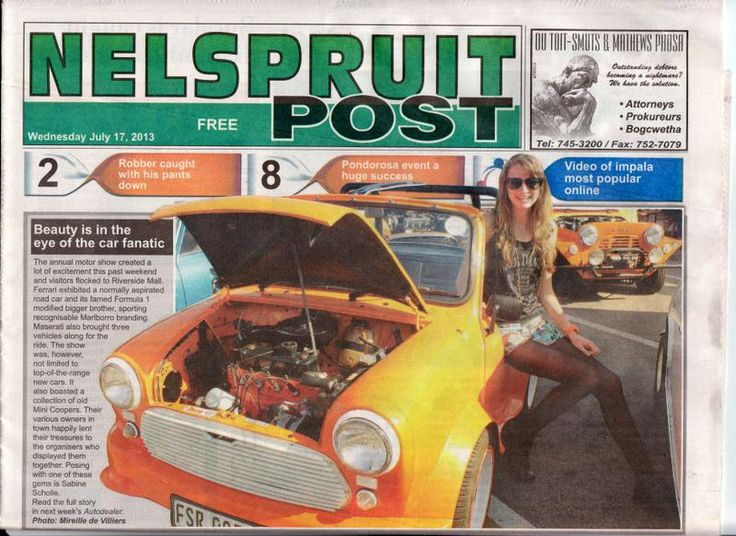 Nelspruit Motor Show 2013 in the Nelspruit Post 17th July.