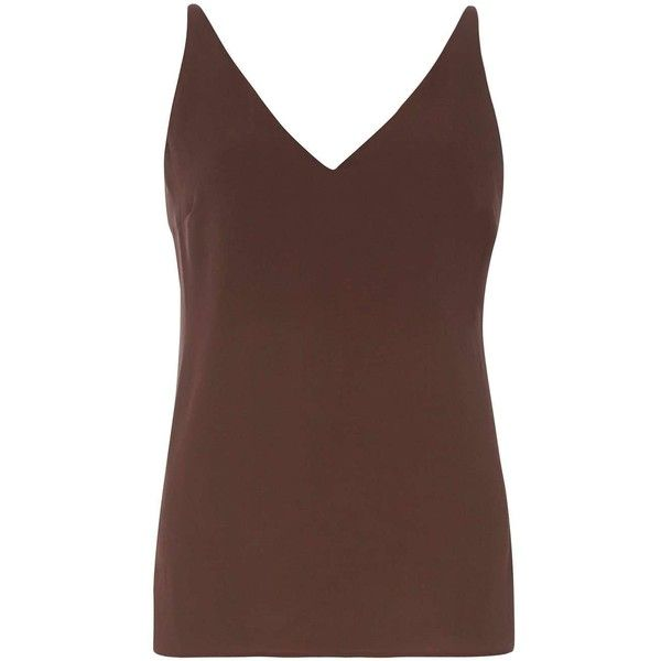 Dorothy Perkins Chocolate Deep V Neck Cami Top ($21) ❤ liked on Polyvore featuring tops, tops - sleeveless, brown, camisole tops, brown sleeveless top, cami tops, sleeveless tank and brown cami