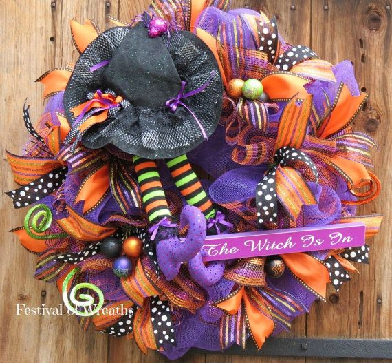 Halloween Deco Mesh Wreath - Halloween Witch Wreath - Halloween Decor - Front Door Halloween Wreath - Witch Hat and Legs Wreath
