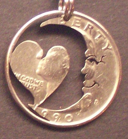 Moon With A Heart Quarter Cut Coin Jewelry by bongobeads on Etsy, $9.95