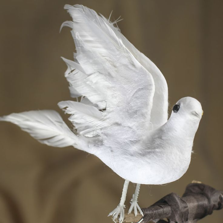 White feather artificial dove possible tree toppers for Synthetic feathers for crafts