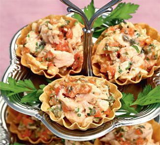 Тарталетки с рийетом из лосося