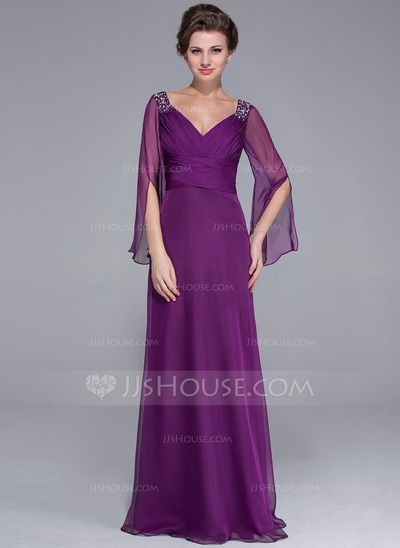 Mother of the Bride Dresses - $142.99 - A-Line/Princess V-neck Floor-Length Chiffon Mother of the Bride Dress With Ruffle Beading (008025758) http://jjshouse.com/A-Line-Princess-V-Neck-Floor-Length-Chiffon-Mother-Of-The-Bride-Dress-With-Ruffle-Beading-008025758-g25758