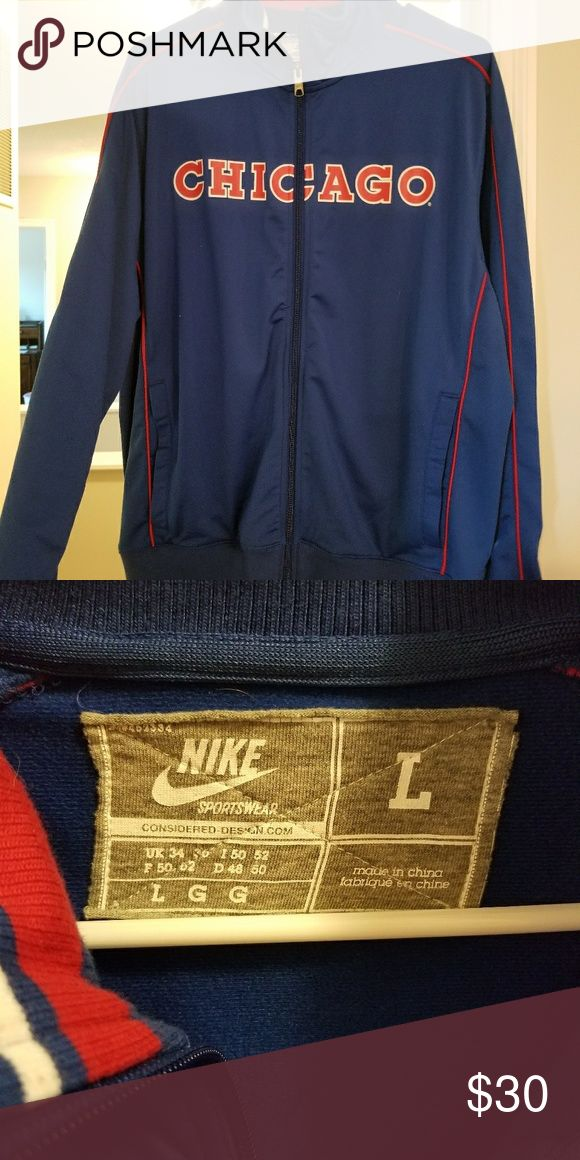 Mens Large Chicago Cubs Jacket Excellent Used condtion Chicago Cubs jacket. A heavier fabric. Nike Jackets & Coats