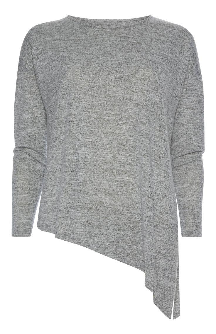 Primark - Asymmetrische grijze top met lange mouw