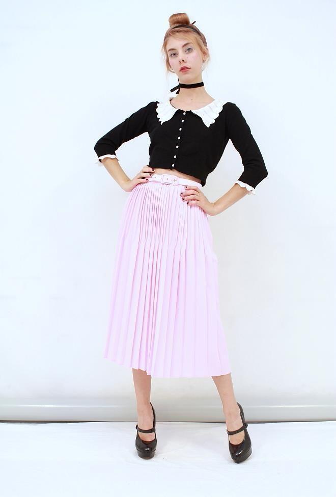 Vtg RETRO FEMININE Lolly Pink Permanent PLEATED Belted Midi Skirt AUS 14 16 L XL