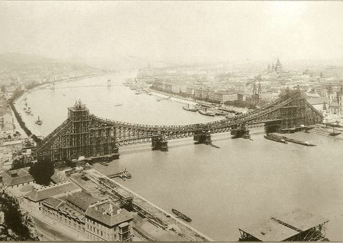 Construction of the original Elisabeth Bridge (Erzsébet-híd.) Lasted 1897-1903! The bridge was named after Elizabeth, Empress of Austria and Queen of Hungary, wife of Francis Joseph I assassinated in Geneva in 1898. Its 290-meter span over the Danube, made it the longest suspension bridge in the world. Blown up by German troops at the end of WW II, it is the only Danube bridge in Budapest that was not rebuilt after the war. Instead, a new bridge was built between 1960 and 1964.