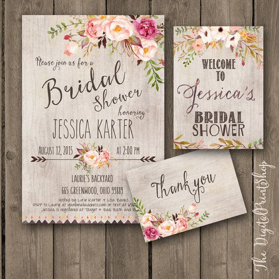 Rustic Garden Bridal shower INVITATION invite welcome sign thank you card wood pink peonies burlap chic Printable DIY 171 Digital jpg