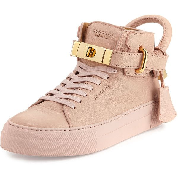 Buscemi Women's 100mm Turn-Lock Patent High-Top Sneaker (12.494.085 IDR) ❤ liked on Polyvore featuring shoes, sneakers, nude, round cap, lacing sneakers, high top shoes, nude patent shoes and patent leather sneakers