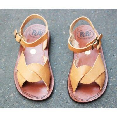 Sandales à boucles en cuir naturel [Pèpè]