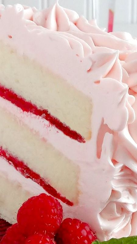 Pink Champagne Velvet Layer Cake ~ Moist, tender white cake is made with a champagne reduction and a hint of almond and vanilla. It is iced with Pink Champagne Buttercream and filled with Strawberry-Raspberry Filling