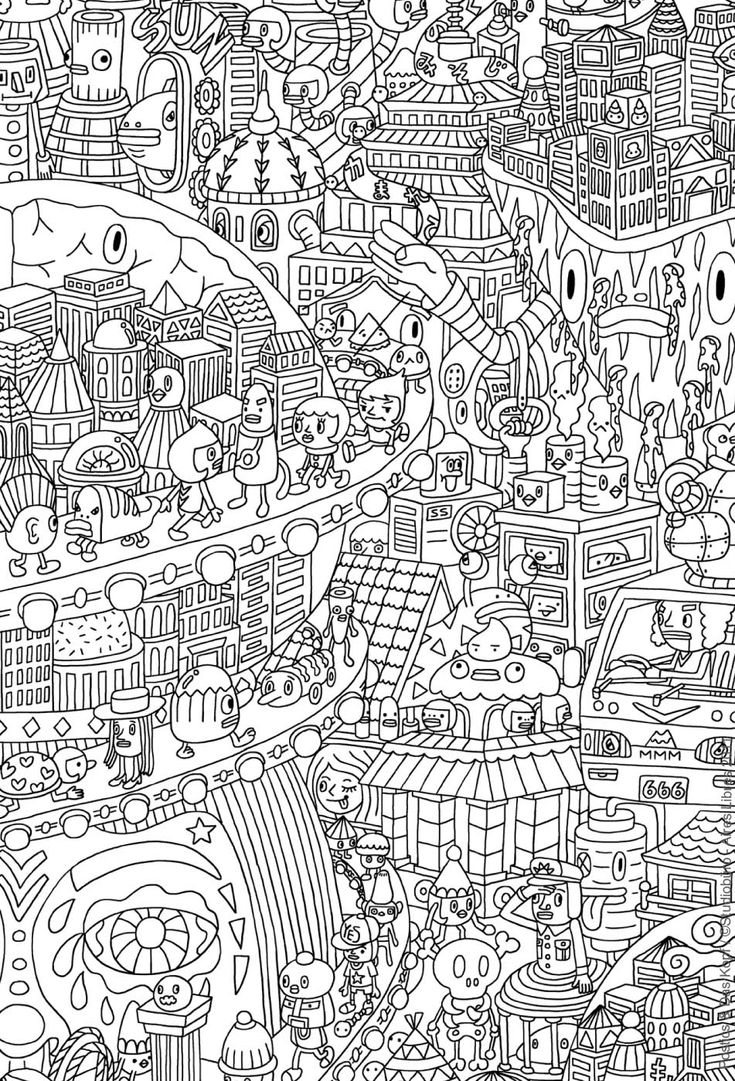 Free Coloring Page A Funny City Populated With Strange Creatures See This Little World Your Felts