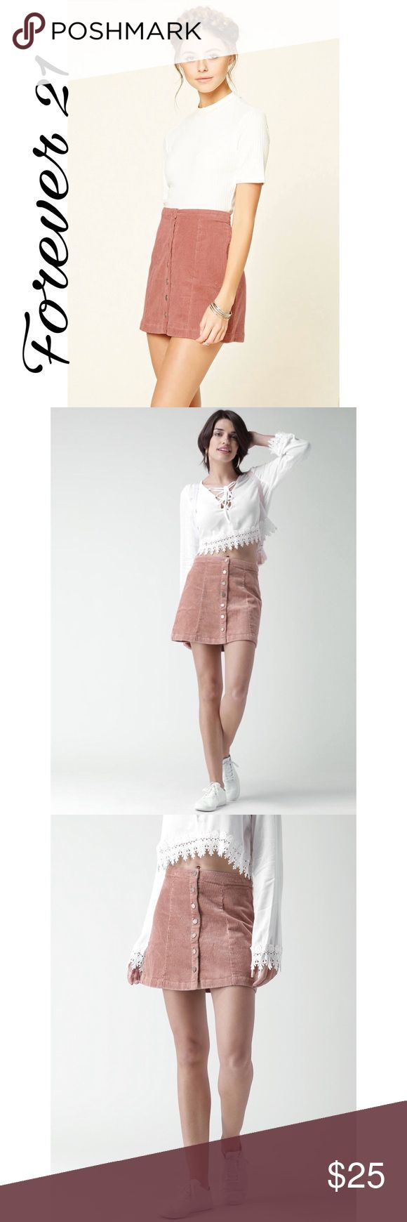 ✨ Women's Pink Corduroy Mini Skirt✨ ✨98% Cotton, 2% elastane. Machine wash cold. Dusty pink knitted corduroy A-line mini skirt, has a waistband with a full button closure on the front.✨ Forever 21 Skirts Mini