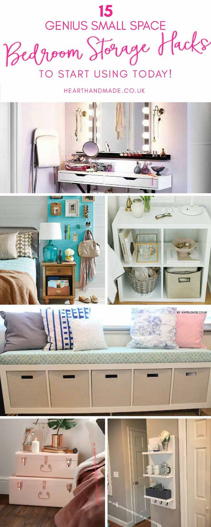 Are you in need of some genius small space bedroom storage ideas? Well, you're in luck! Click through to see 15 unexpected Ideas For Bedroom Storage: