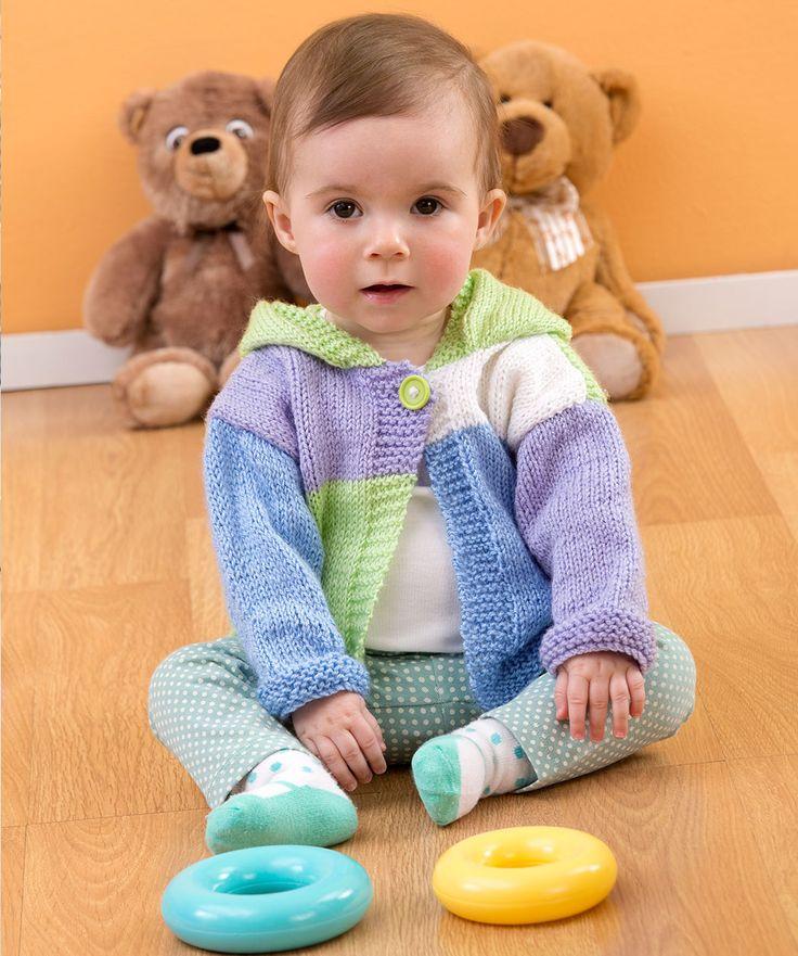 Color Block Hoodie Knitting Pattern #knit #redheartyarns