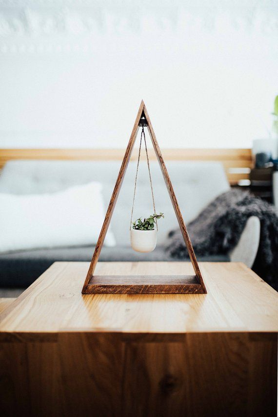 ORIGINAL Trending Hanging Triangle Planter Wood for Succulents and Air Plants, Hanging Planter, Triangle Shelf, Wood Shelf