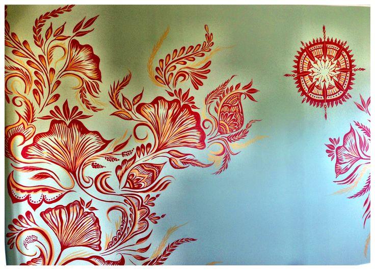 Interiors wallart murals design home henna for Back mural tattoo designs