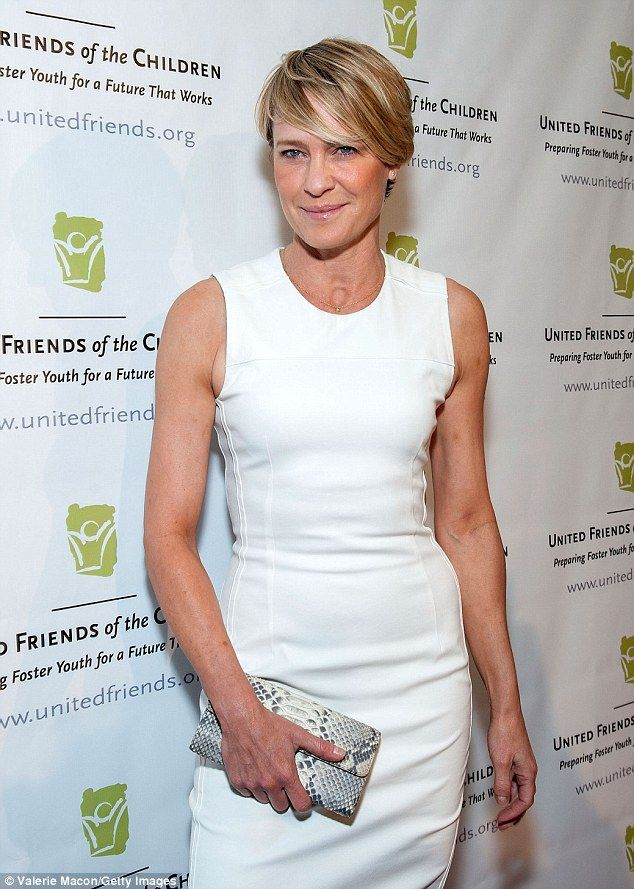 Not an inch to pinch! Robin Wright was white hot in a figure-hugging pencil dress at the Brass Ring Awards in Beverly Hills Tuesday