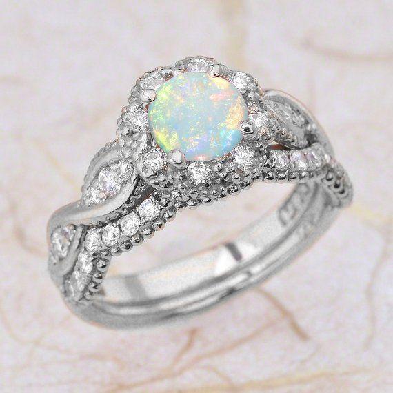 Opal 14K Vintage Rose Gold Engagement Ring And Wedding Band | Etsy