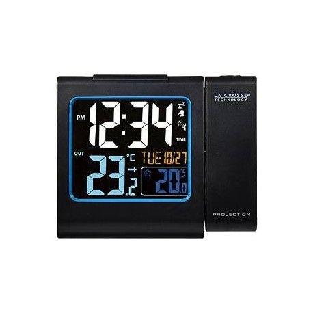 nuevo  Reloj despertador La Crosse Technology WT552 negro. Despiértese relajadamente con la proyección de la hora y vea las informaciones en su pantalla de color las temperaturas interna / exterior.