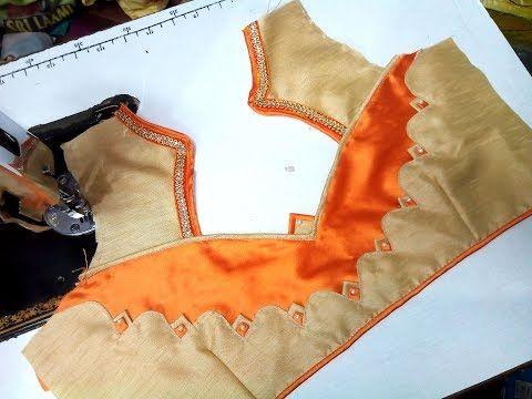 Designer Bridal Back Neck Blouse Pattern - 3 (DIY) - YouTube