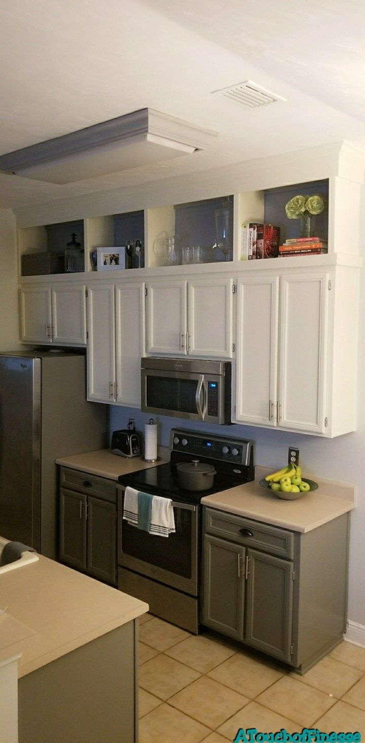 Kitchen Makeover Part 2 Building Cabinets To Ceiling A Touch Of Finesse Cabinets To Ceiling Modern Kitchen Cabinet Design Small Kitchen Cabinets