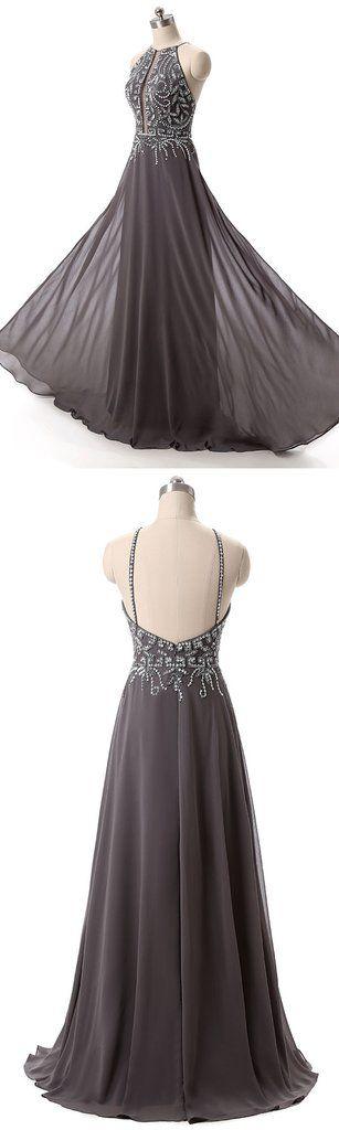 Charming Prom Dress,Grey Chiffon Prom Dress,Backless Prom Dresses,Sexy