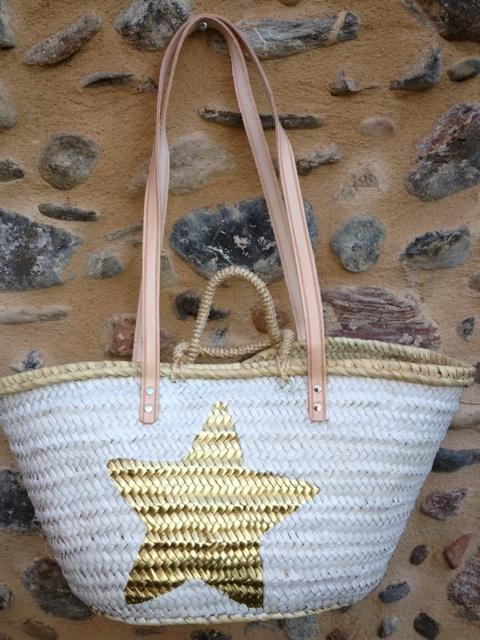 Capazo pintado blanco y estrella dorada