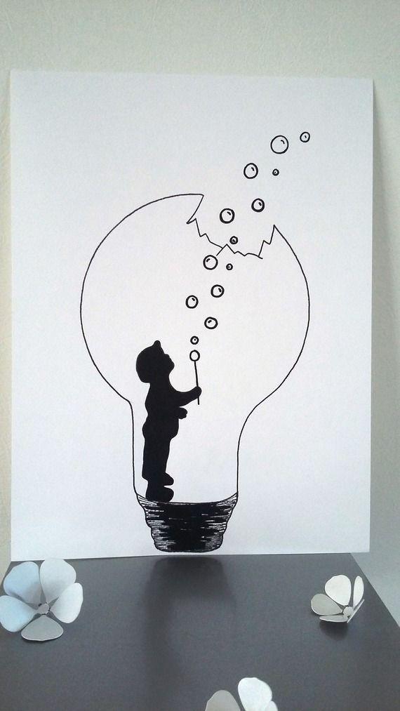 """Affiche Illustration Noir et blanc ampoule """" la fo…"""