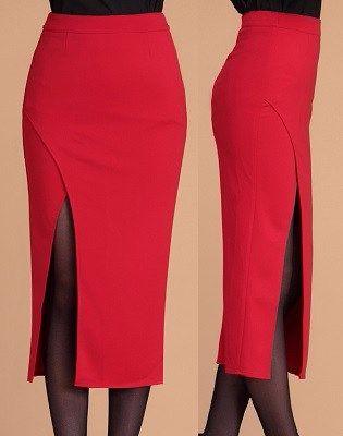 Прямая юбка с глубоким разрезом. Выкройка на евро размеры 36-56