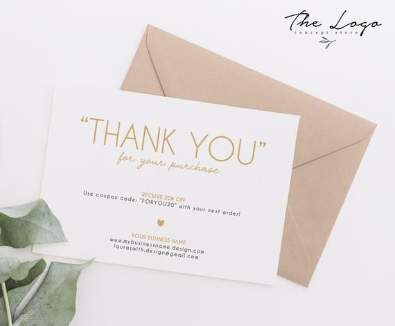 Thank You For Your Purchase Custom Thank You Cards Printable