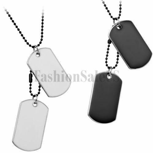 Men's military army #double id dog tags pendant #necklace diy #engrave it yoursel, View more on the LINK: http://www.zeppy.io/product/gb/2/222054867740/