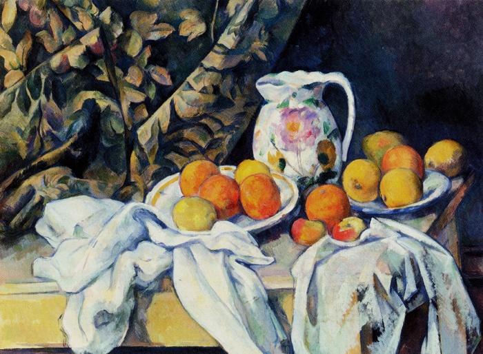 ポール・セザンヌが、1894年頃~1895年にかけて描いた「カーテンのある静物」