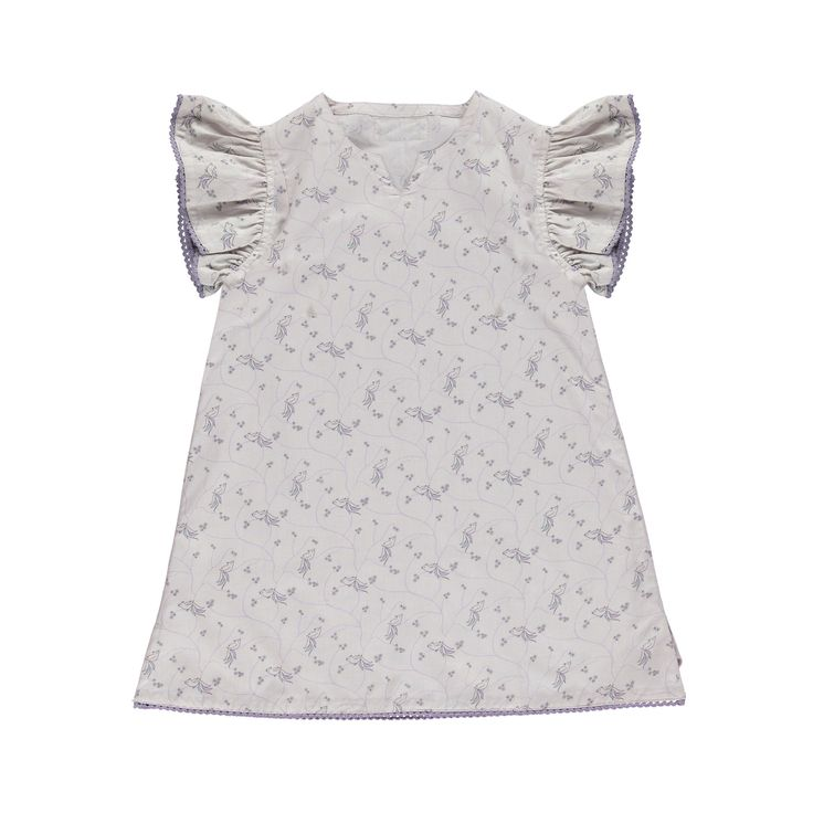 Okker-Gokker organic GOTS certified, made in India, 100% organic cotton.  Pale mauve slash neckline dress with whimsical blue & mauve bird & star print, elasticised sleeve with mauve cotton lace trim. $67.95 http://www.danskkids.com.au/collections/spring-summer-2015/products/okker-gokker-pale-mauve-with-bird-print-dress