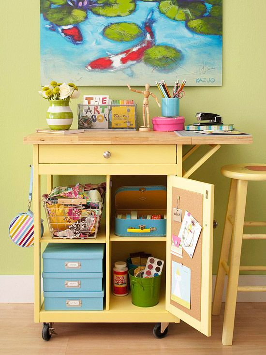 Storage Inspiration: Roll-Away Craft Storage - Idea from http://www.bhg.com/decorating/storage/craft-room/ultimate-craft-organization-solutions/