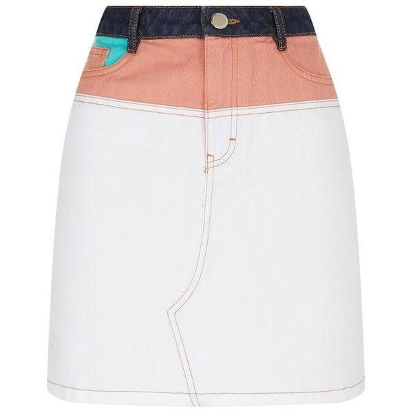 Maje Multi-Coloured Denim Skirt found on Polyvore featuring skirts, faldas, multi color skirt, knee length denim skirt, straight denim skirt, multi colored skirt and multicolor skirt