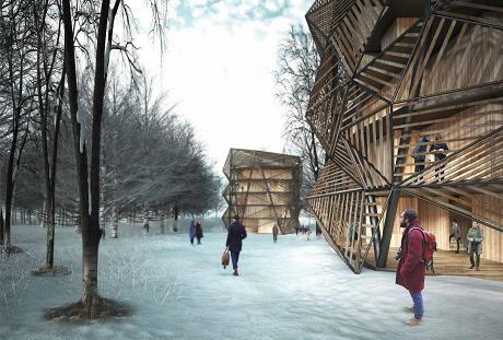 Uusia opiskelija-asuntoja Otaniemeen: voittaneessa ehdotuksessa asuintalojen ulkopuolella on liito-oravien kulkua helpottavia puurakenteita.