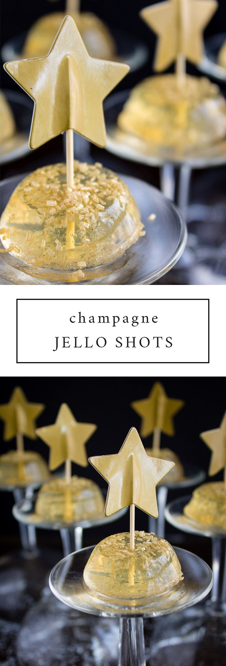These champagne jello shots are absolutely perfect for New Years Eve or in place of your New Years Even drinks. Bottoms up!