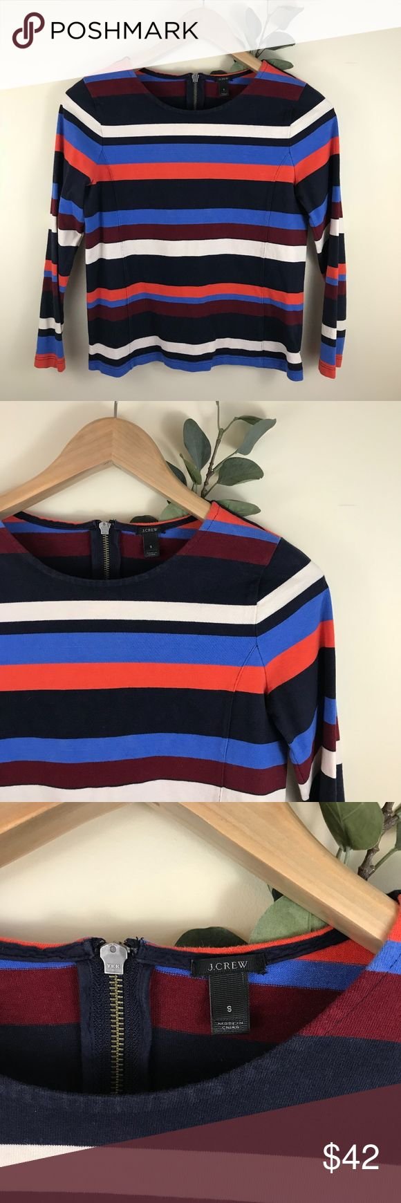 """J. Crew Multicolor Striped Zip Back Neutral Blouse J. Crew Multicolor Striped Zip Back Neutral Blouse. Size small. EUC, unstructured, boxy fit. approx 32"""" chest, 21"""" from shoulder to hem. 100% cotton. J. Crew Tops Blouses"""