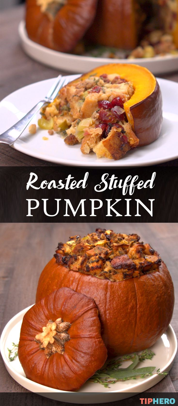 Ever tried cooking pumpkin? This Roasted Stuffed Pumpkin dish is the perfect Fall dish, whether for the big day - Thanksgiving! - or for any autumnal gathering. The pumpkin, filled with apples, sausage and cranberries, is decorative and delicious! Click for the recipe and how to video and enjoy!   #recipes #homecooking #holidays
