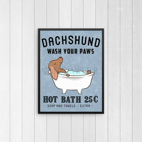 Dachshund Bathroom Wall Decor Wiener Dog Funny Bathroom Art Etsy Funny Bathroom Art Dog Bath Wiener Dog Humor